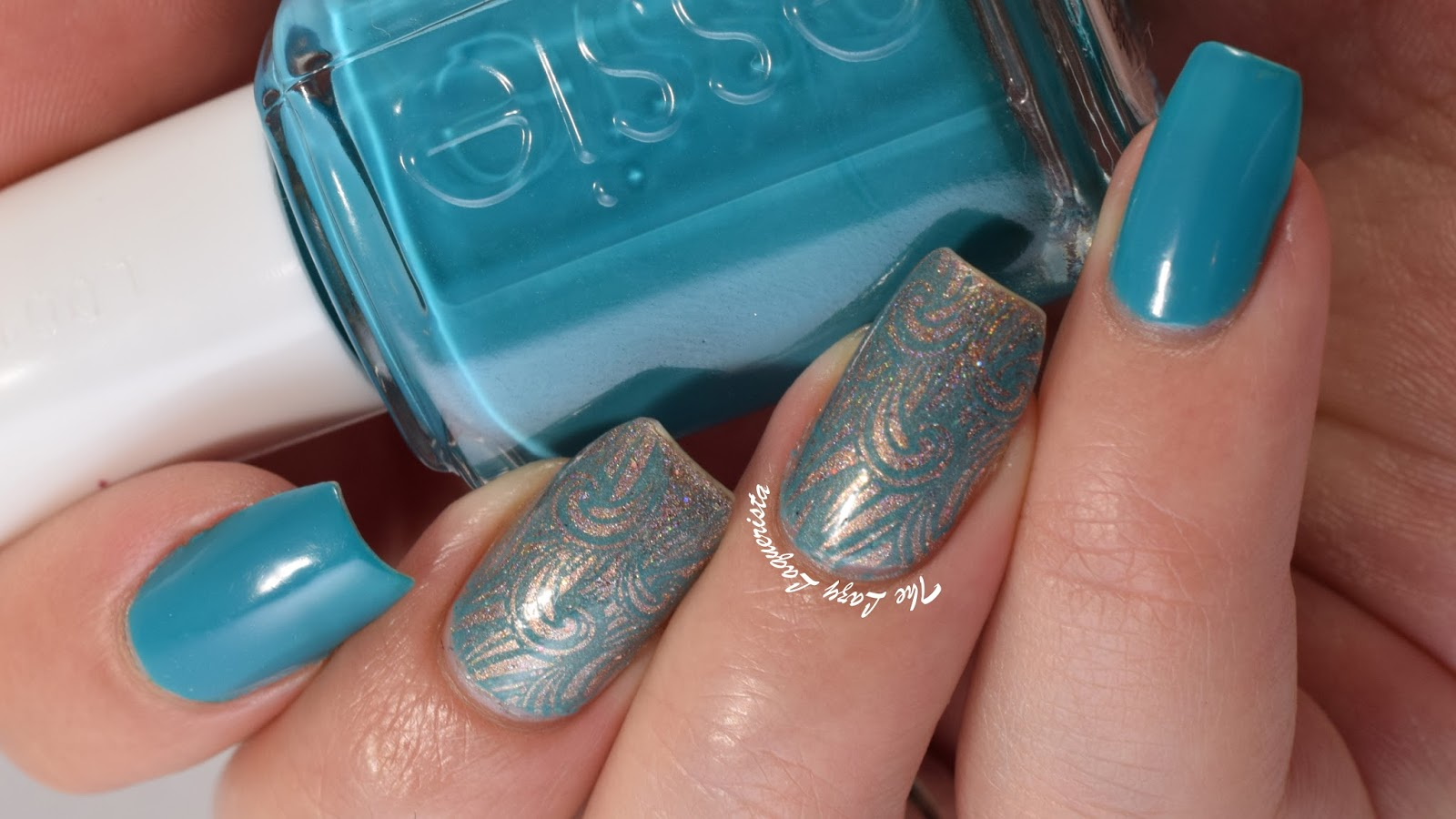The Lazy Laquerista: Aqua and Gold Wave Nail Art Featuring Born Pretty ...