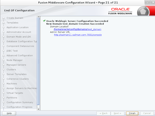 Weblogic domain creation step 21