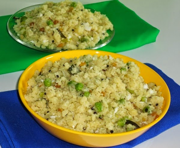 rava upma with green peas in a serving bowl
