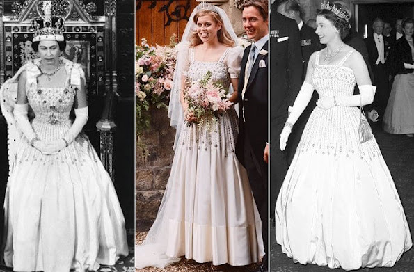 Princess Beatrice wore a vintage dress by Norman Hartnell and the Queen Mary diamond fringe tiara. Wedding of Princess Beatrice