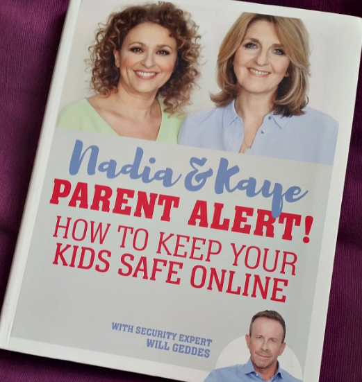 The front cover of the book Parent Alert! How to keep your kids safe online featuring Nadia Sawalha and Kaye Adams.
