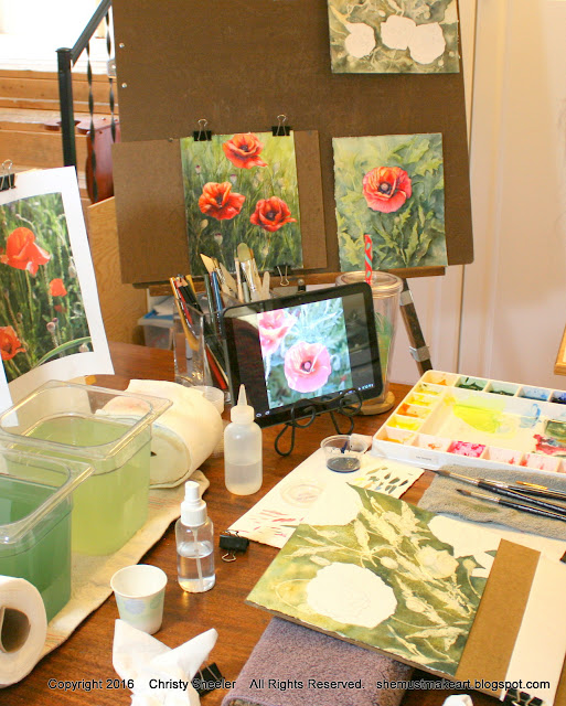 watercolor poppies series in progress