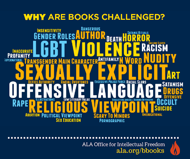 ALA why are books challenged? infographic with various reasons in a word cloud