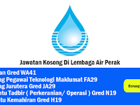 Jawatan Kosong 2019 Lembaga Air Perak - Tetap/Kontrak