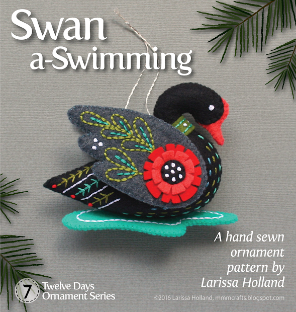 12 Days of Christmas Felt Ornaments 7 Swans a Swimming