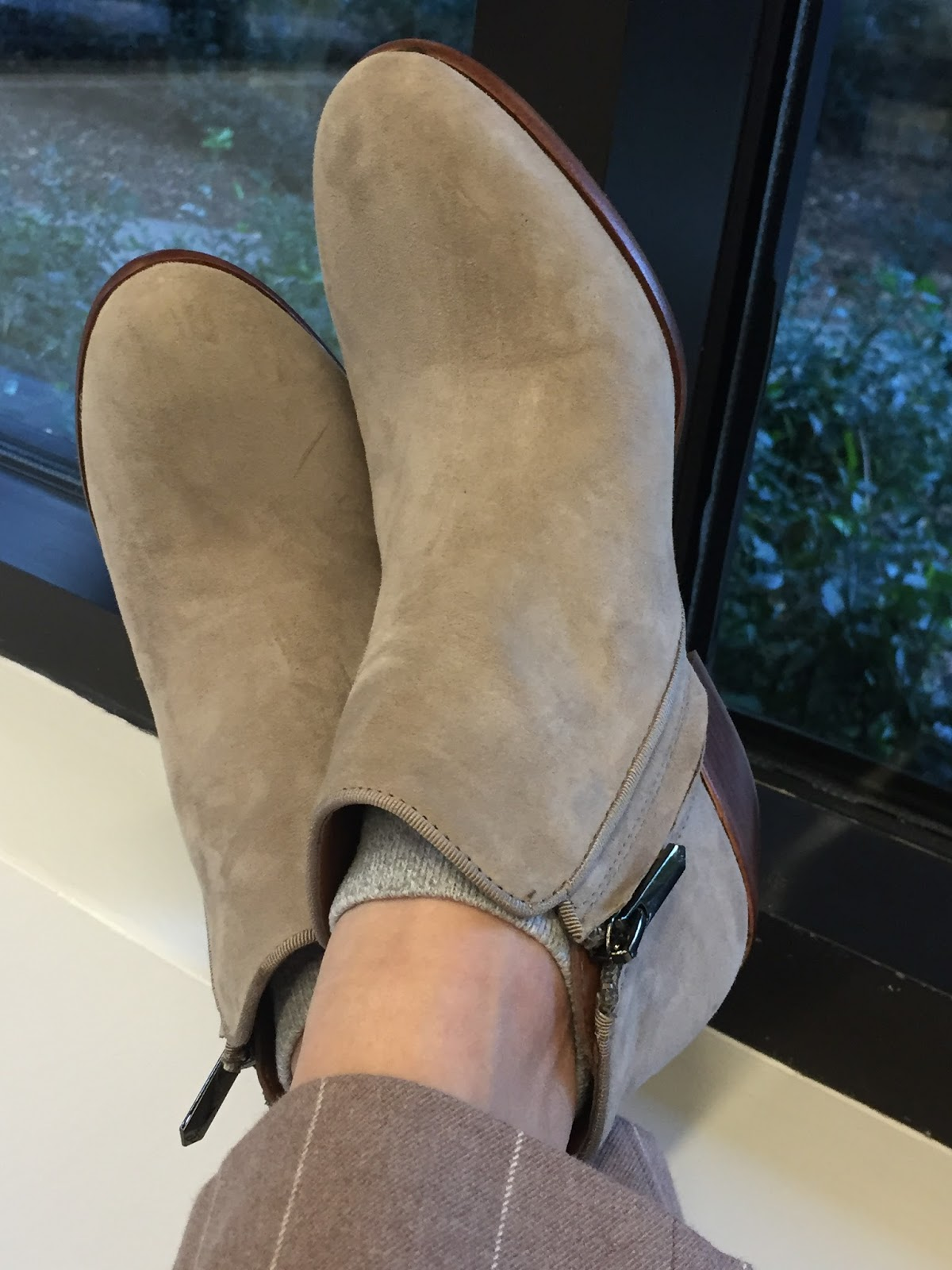 ff3aebbbb975b5 I have found the perfect pair! Drumroll please! Sam Edelman Petty booties.  I love them so much I bought them in two colors in putty suede and slate  gray.