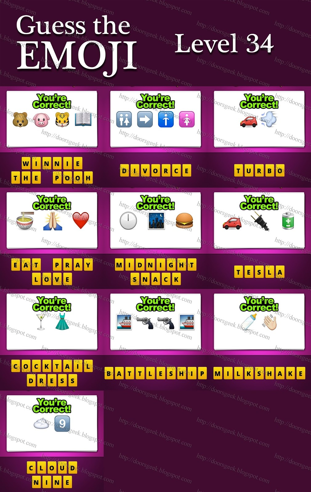 Guess The Emoji Level 34 : guess, emoji, level, Guess, Emoji, [Level, Answers, Cheats, Doors