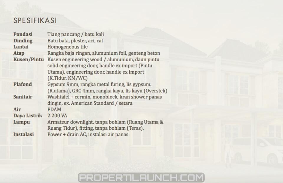 Spesifikasi Bangunan Rumah Alegria BSD
