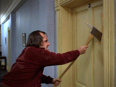 jack nicholson (as Jack Torrance) goes mad in the shining, axe scene, directed by stanley kubrick