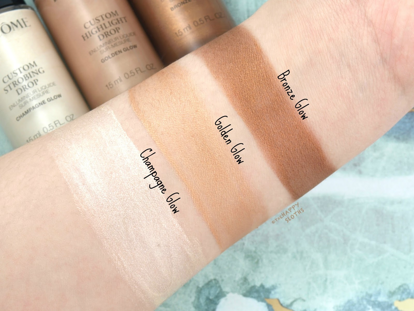 Lancome | Custom Glow Drops Ultra-Concentrated Liquid Highlighter | Champagne Glow, Golden Glow & Bronze Glow: Review and Swatches