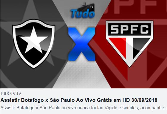 Assistir Botafogo x São Paulo Ao Vivo Grátis em HD 30/09/2018  (TV TUDO)