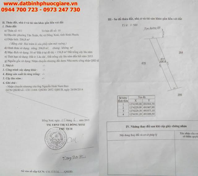 Bán Đất đường C2 Tân Xuân Đồng Xoài Bình Phước gần ngã tư Sóc Miên