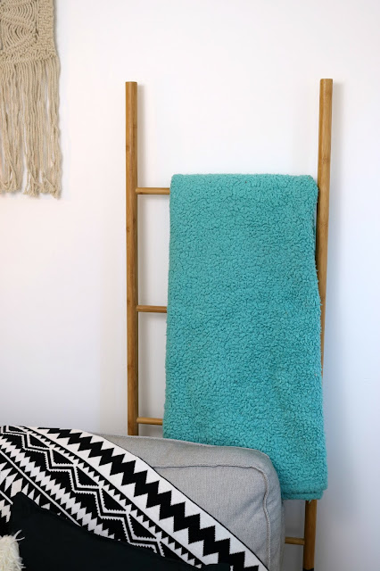 Hygge Winter Boho Home Styling Inspiration – Aztec Bohemian Theme for Bedroom, Living Room Home Office on a Budget - Bamboo Blanket Ladder
