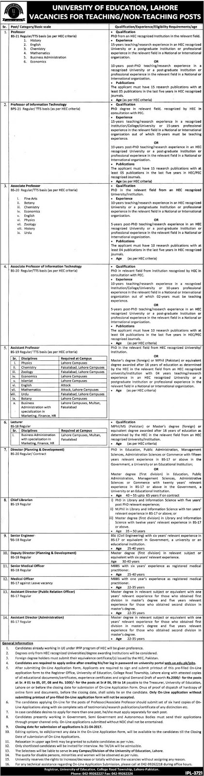 University of Education Lahore UEL 36+ Jobs