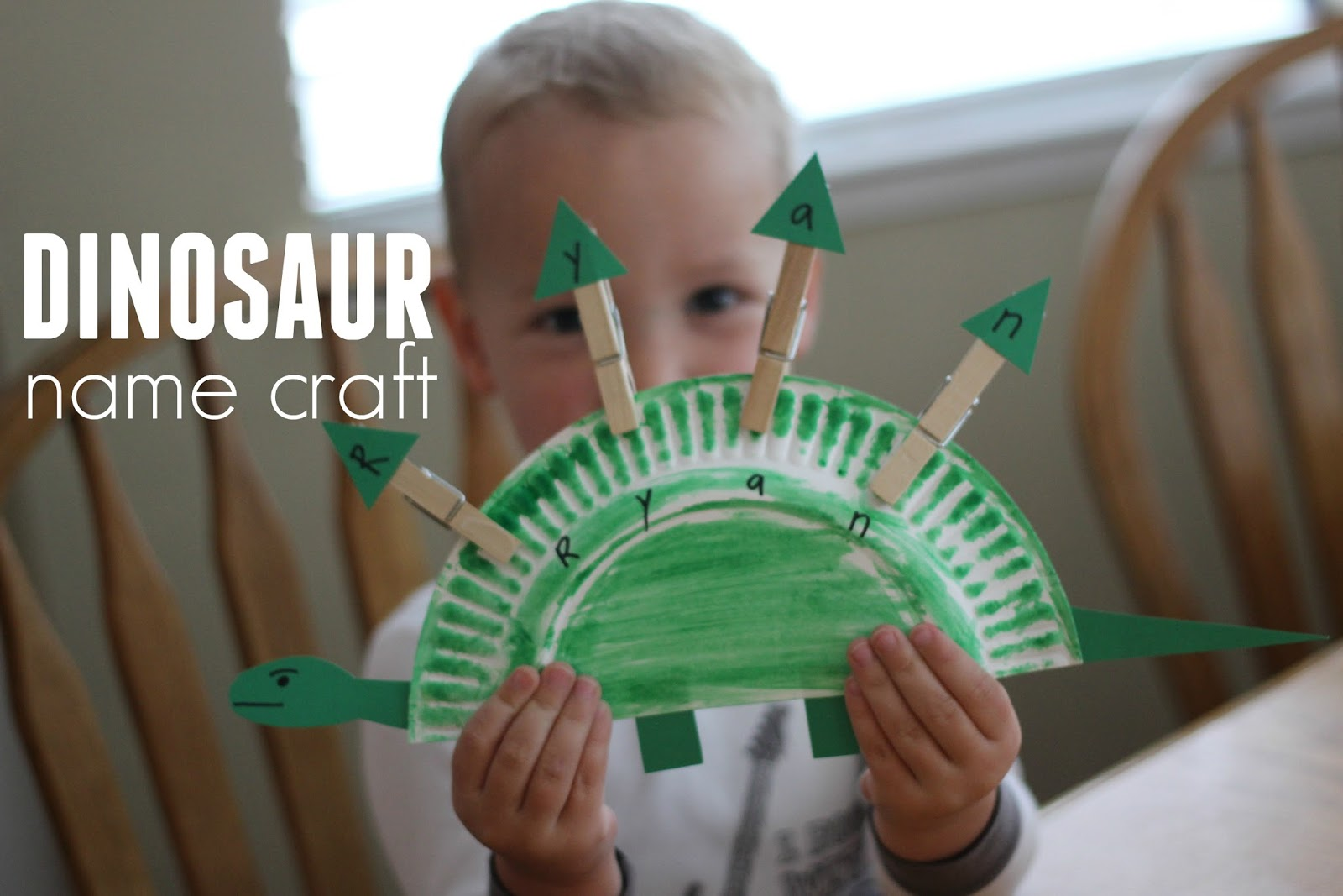 For Virtual Book Club for Kids this month we are spotlighting Goldilocks and the Three Dinosaurs by Mo Willems so we decided to do another dinosaur name ... & Toddler Approved!: Paper Plate Dinosaur Name Craft