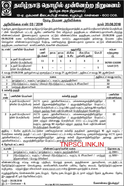 Tamil Nadu Sipcot Civil Engineer, Electrical Engineer Recruitment 2018