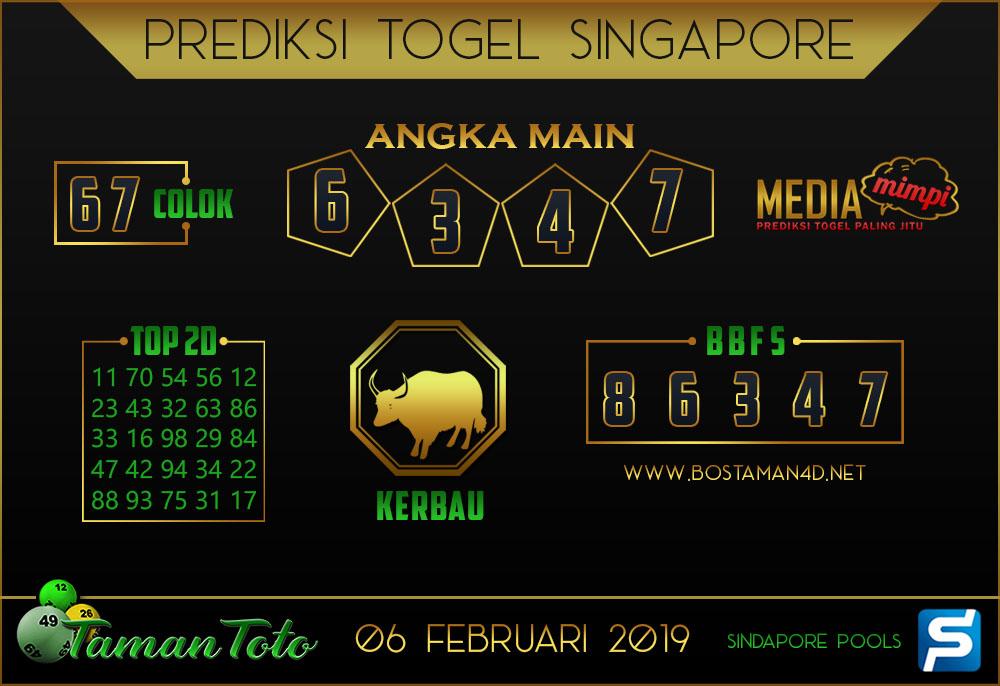 Prediksi Togel SINGAPORE TAMAN TOTO 06 FEBRUARI 2019