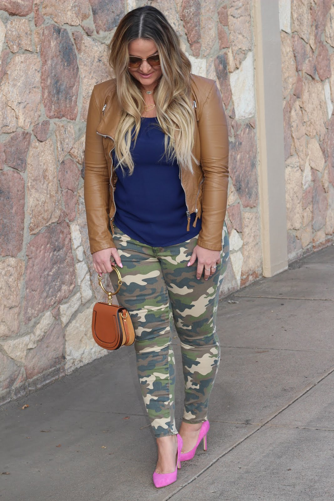 Brown moto jacket and camo by popular Denver fashion blogger Delayna Denaye