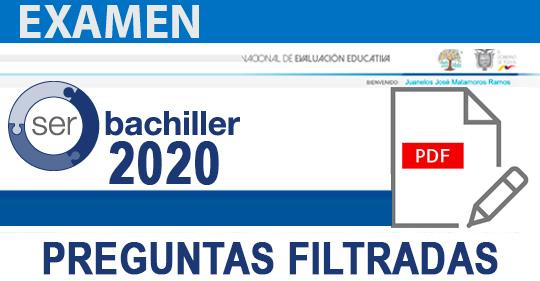 Pruebas filtradas Ser Bachiller 2020 - Examen Ser Bachiller PDF preguntas Resueltas