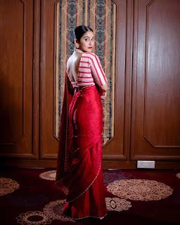Regina Cassendra New red saree Pics