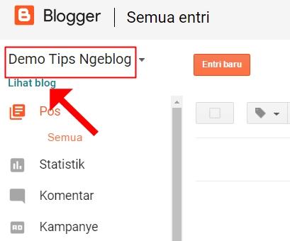 Berhasil menambahkan blog baru di blogger