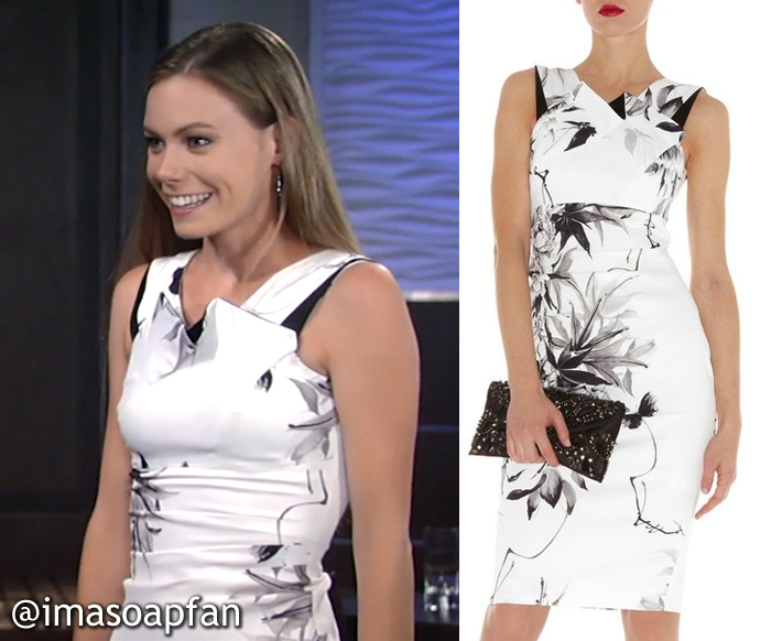 Nelle Hayes's White and Black Floral Dress - General Hospital, Season 54, Episode 09/19/16