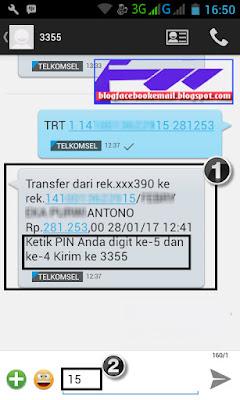 cara transfer rekening sesama bank mandiri dengan SMS banking