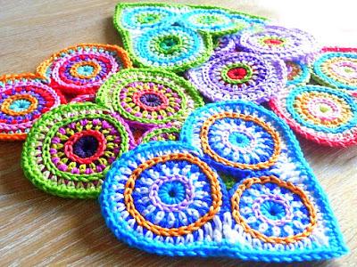 crochet applique hearts