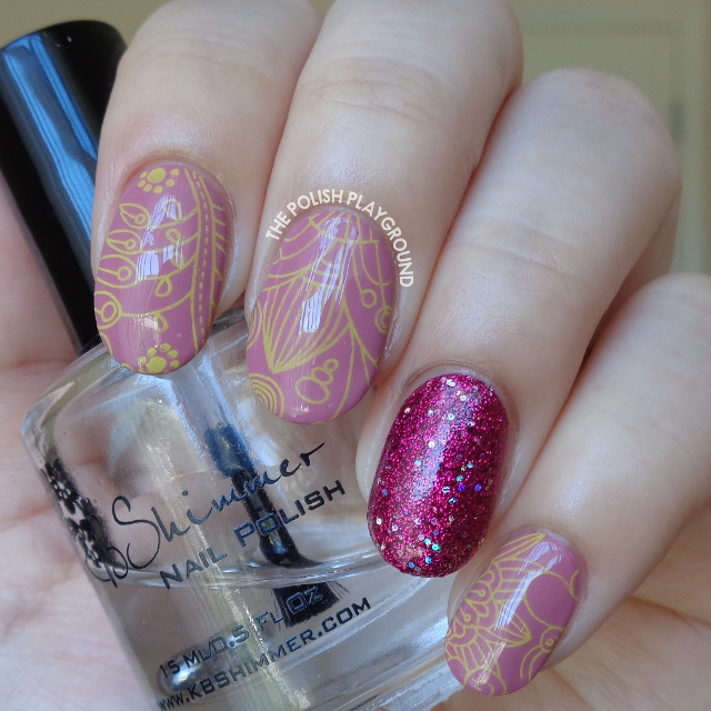 Purple with Yellow Floral Stamping and Glittery Accent Nail Art