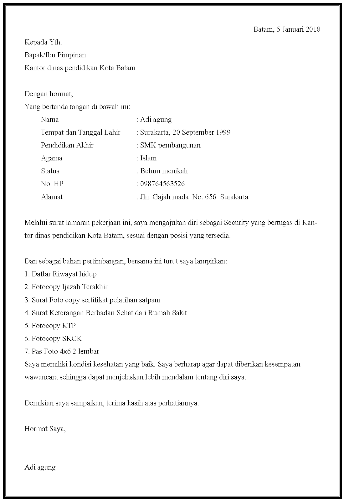 Contoh surat lamaran kerja security di kantor dinas pendidikan
