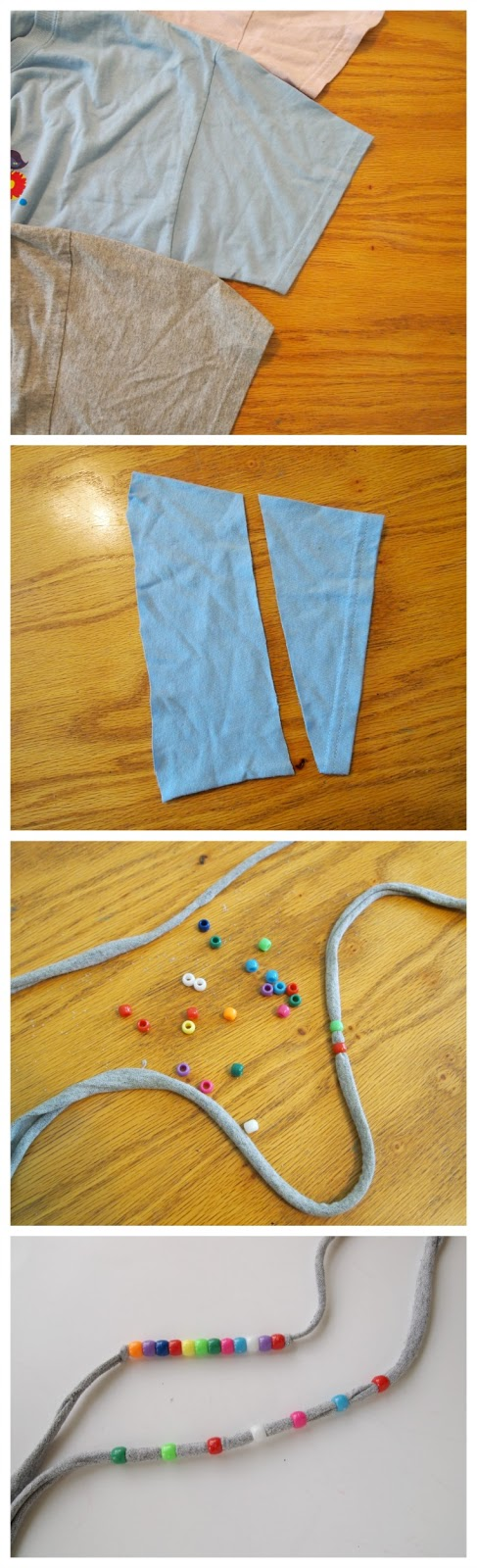 Use old t-shirts and pony beads to create a fun colorful headband for summer!