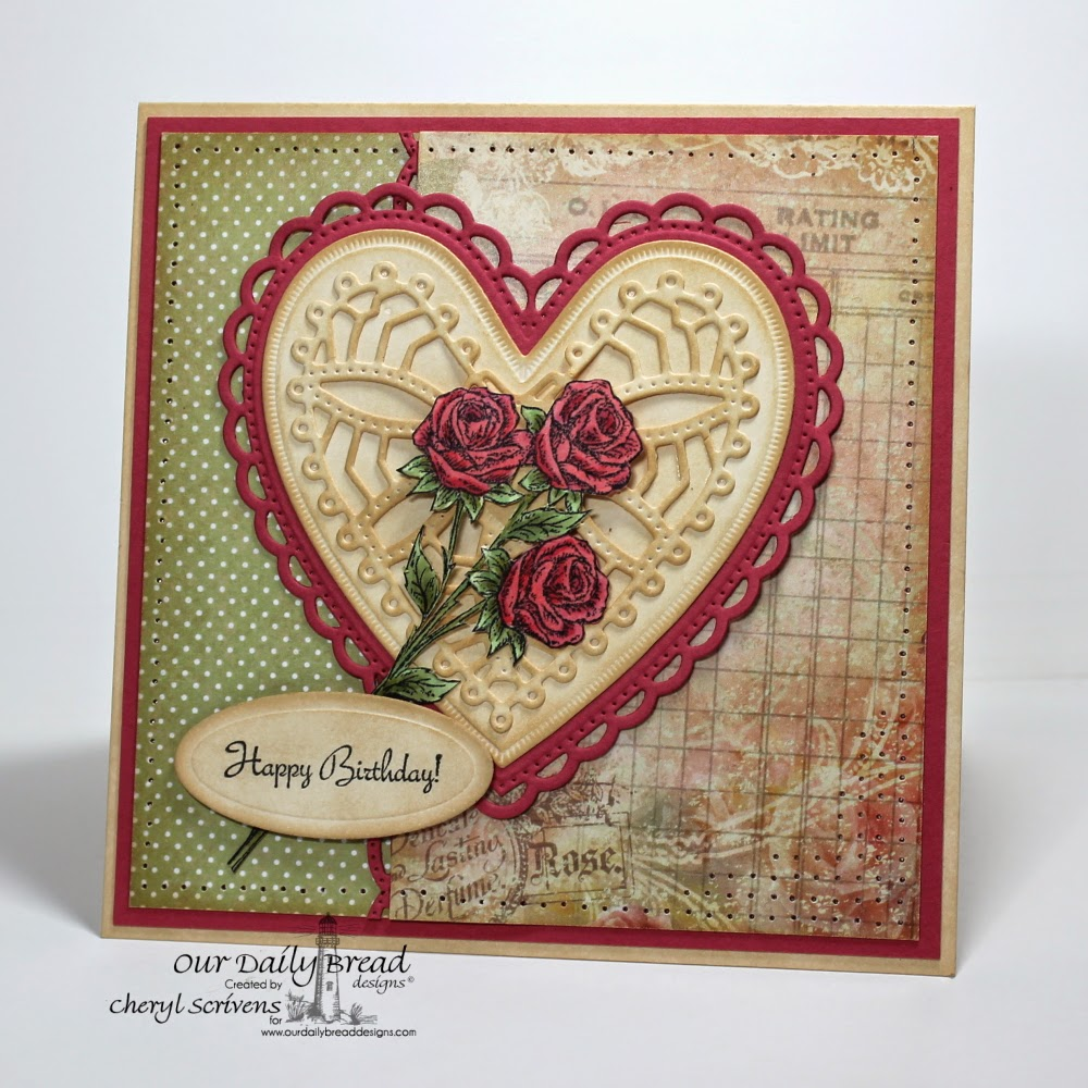 Our Daily Bread Designs, ODBDSLC208, Rose, Rose Bouquet, Ornate Hearts Dies, Beautiful Borders Dies, ODBD Blushing Rose Paper Collection, CherylQuilts, Designed by Cheryl Scrivens