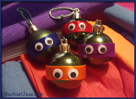 How we created TMNT baubles with ribbon and crepe paper