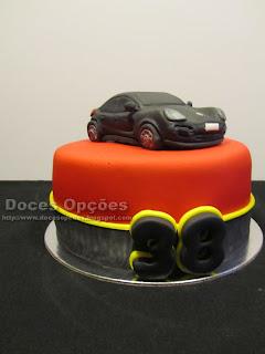 Bolo de aniversário com um Porsche
