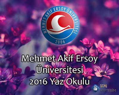 Mehmet Akif Ersoy Üniversitesi 2016 Yaz Okulu
