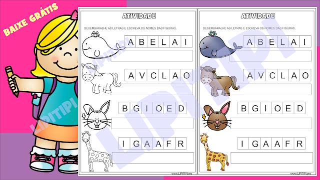 Atividades Alfabetização Formação de palavras com 2, 4 e 5 letras