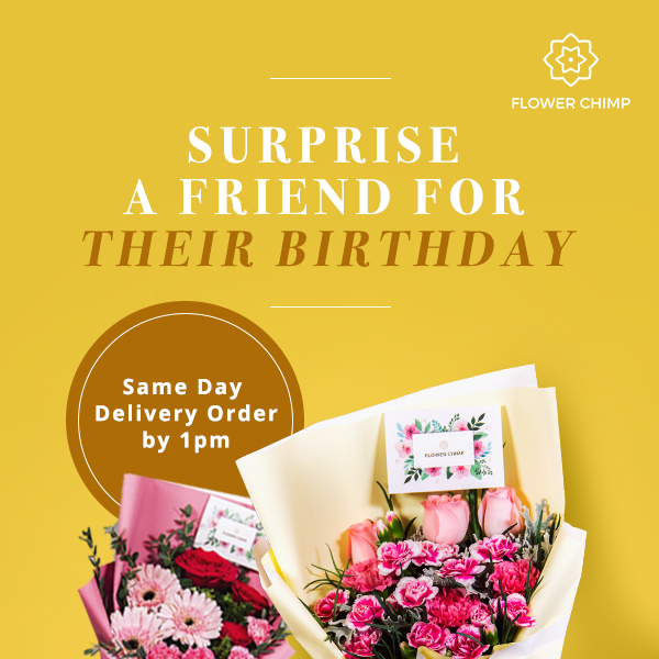Birthday Suprise delivery by Flower Chimp
