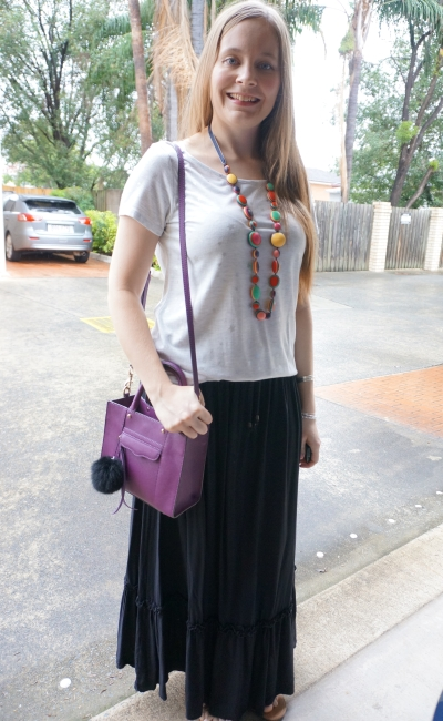 star foil print tee and black maxi skirt with colourful statement necklace purple crossbody bag | awayfromblue