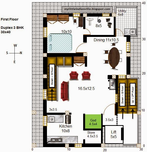 My little indian villa for 2 bhk house plans 30x40
