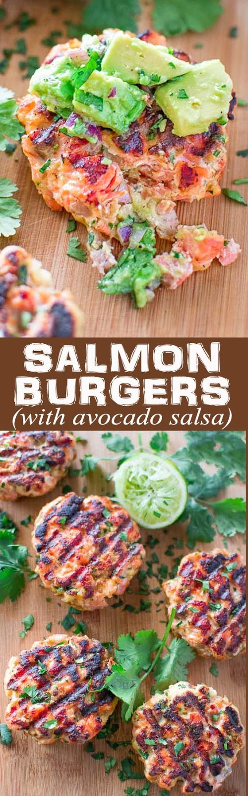 ★★★★☆ 1382 ratings    | SALMON BURGERS WITH AVOCADO SALSA #SALMON #BURGERS #AVOCADO #SALSA #PATTY #HEALTHY