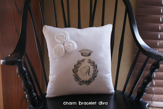 floursack towel DIY pillow iron-on monogram decal