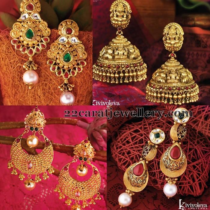 Heavy Look Gold Earrings by GRT - Jewellery Designs