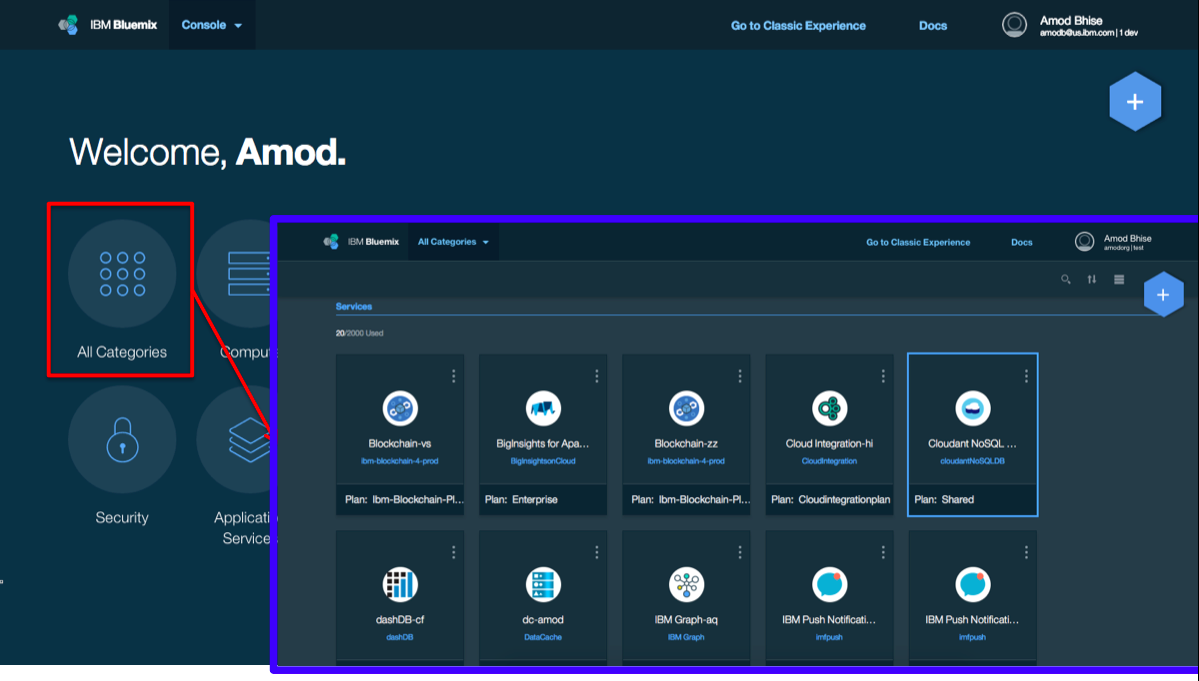 New Bluemix UI Landing Page and Dashboard