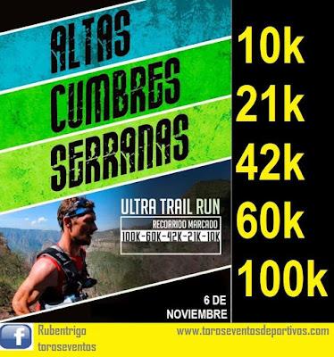 Altas cumbres serranas (100k - 60k - 42k - 21k -10k, Ultra trail run - Sierras del Este, 06/nov/16)