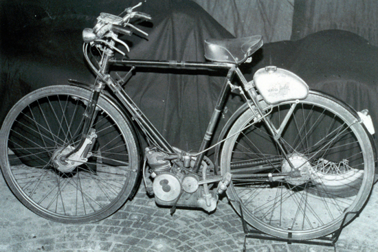 Ducati Cucciolo on a normal bicycle