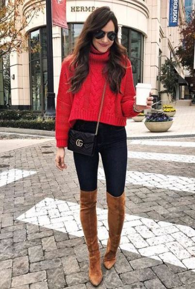how to wear a red sweater : crossbody bag + black skinnies + brown boots