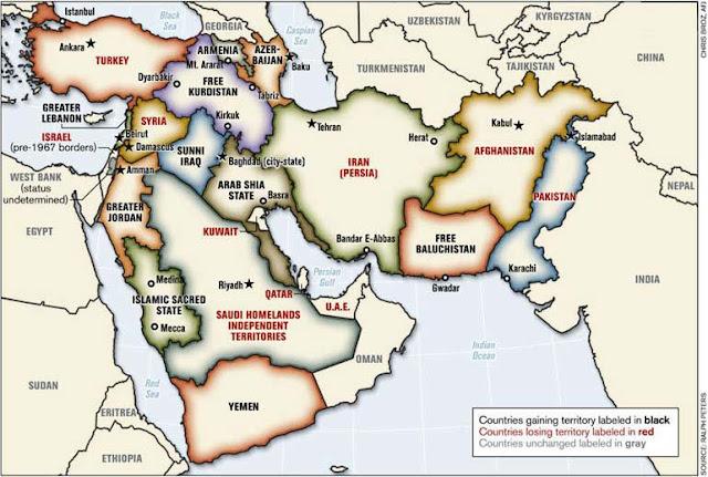 """نفوذ الولايات المتحدة الأمريكية في الشرق الأوسط وفق """" خريطة الشرق الأوسط الجديد """""""
