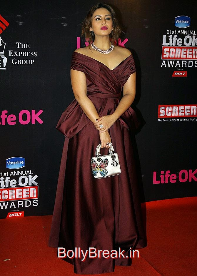 Huma Qureshi, Life Ok Screen awards 2015 Red Carpet Hot Pics