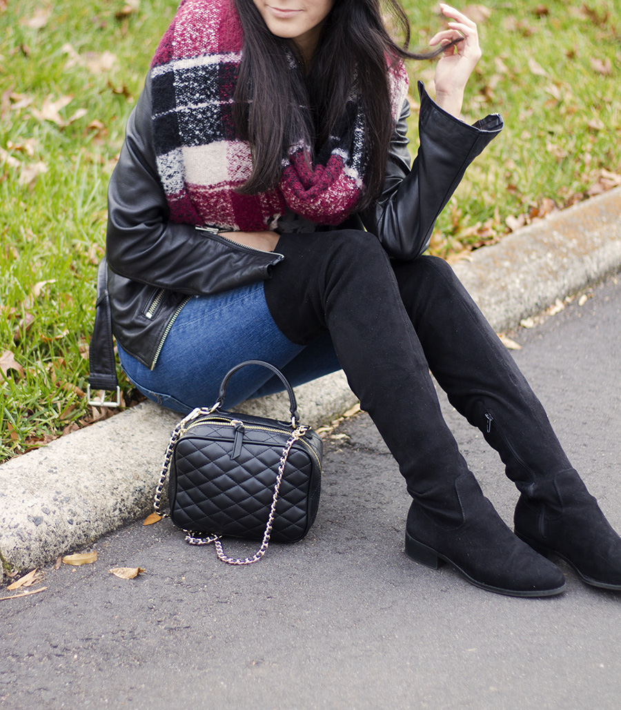 allsaints balfern biker jacket, forever 21 over the knee boots, ag the leggings jeans, zara chanel vanity case dupe