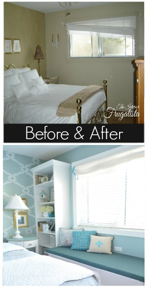 DIY Bedroom Window Seat and Bookcase